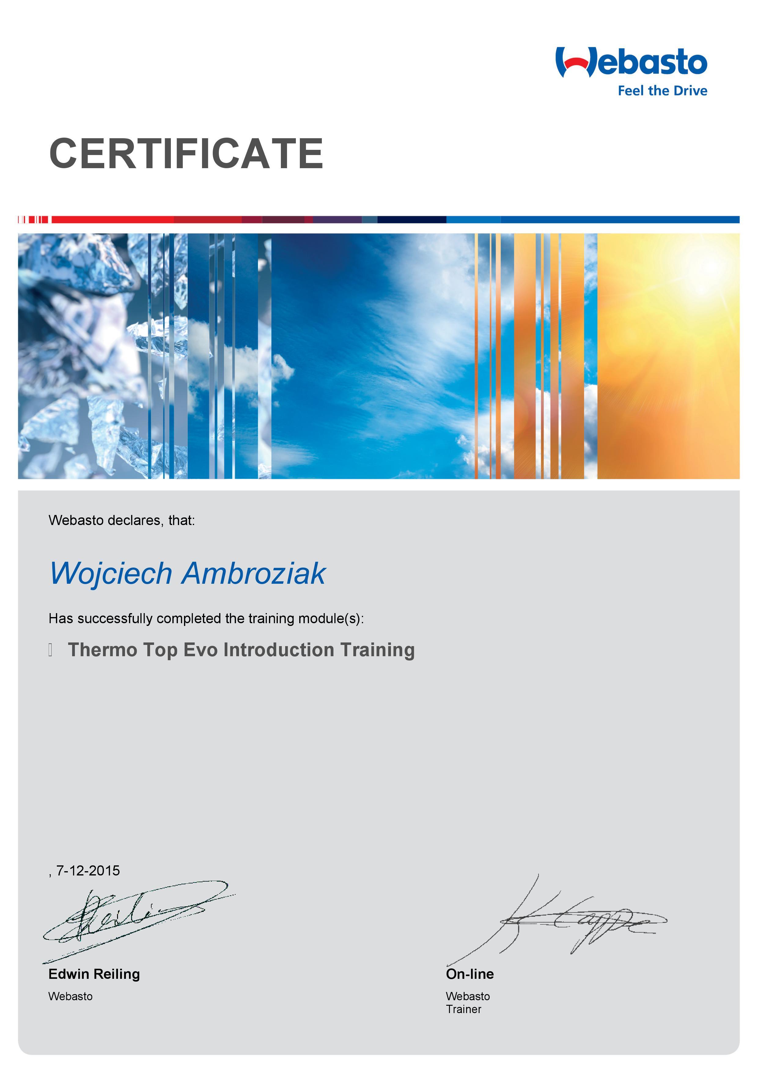 Certyfikat Webasto